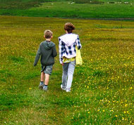 Two children walking in a field
